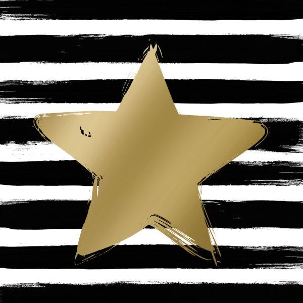 PPD - 20 bedruckte Papierservietten - Star & Stripes schwarz/gold - 33x33cm FSC