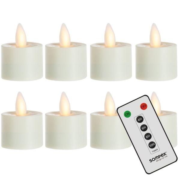 8er Set Sompex Flame LED Teelichter mit Fernbedienung