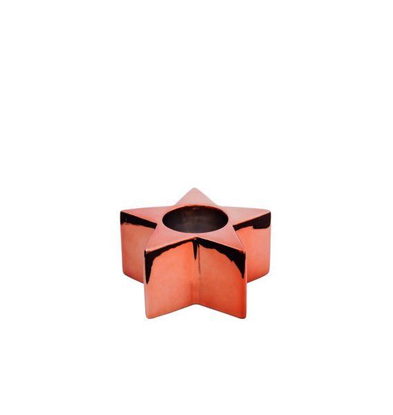 Sompex KRISMASI Keramik-Stabkerzenhalter, stern kupfer