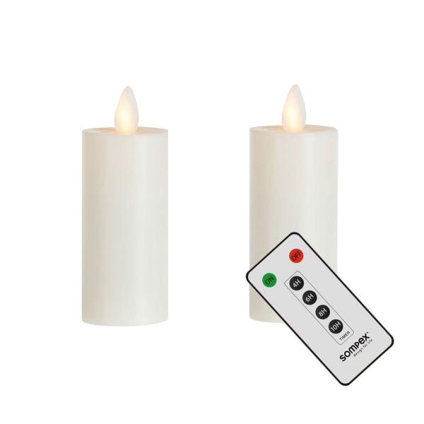 2er Set Sompex Flame LED XL Teelichter XL mit Fernbedienung