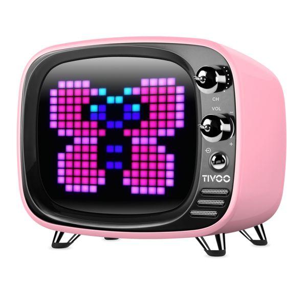 Divoom TIVOO Bluetooth 5.0 Lautsprecher mit Smart Pixel Art Display - pink