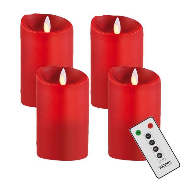 4er Adventskranzset! Sompex Flame LED Kerzen V14 Rot 12,5cm mit Fernbedienung