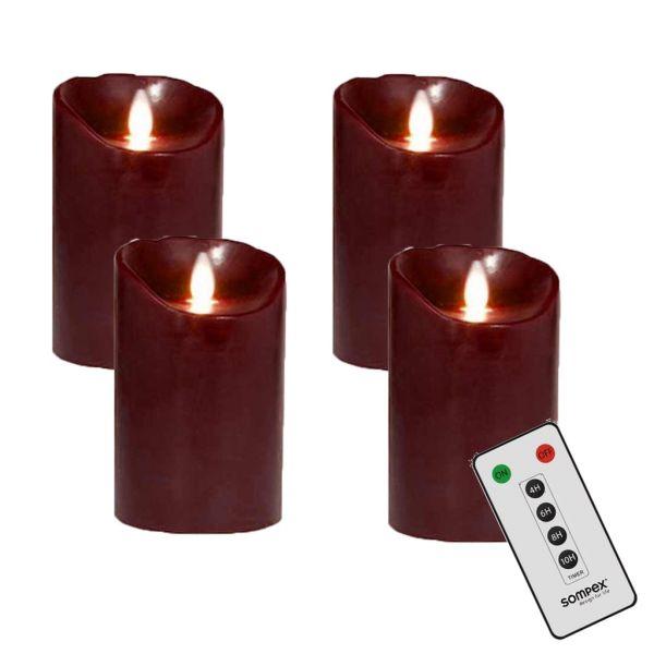 4er Adventskranzset! Sompex Flame LED Kerzen V14 Bordeaux 12,5cm mit Fernbedienung