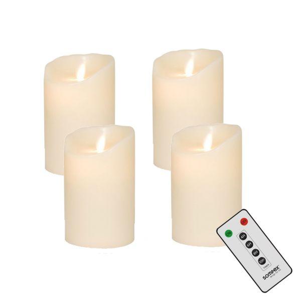 4er Adventskranzset! Sompex Flame LED Kerzen V14 Elfenbein 12,5cm mit Fernbedienung