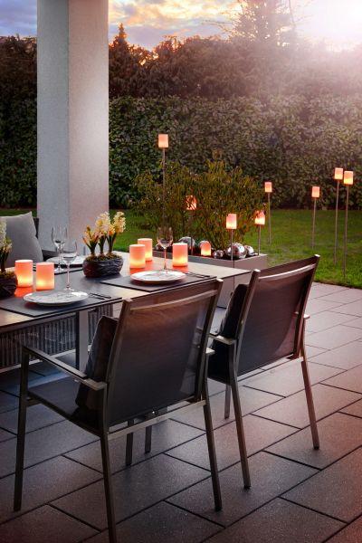 Sompex Outdoorleuchte Fiero | Wiederaufladbarer LED Gartenspieß | Wetterfest IP65, Edelstahl, 2000mAh