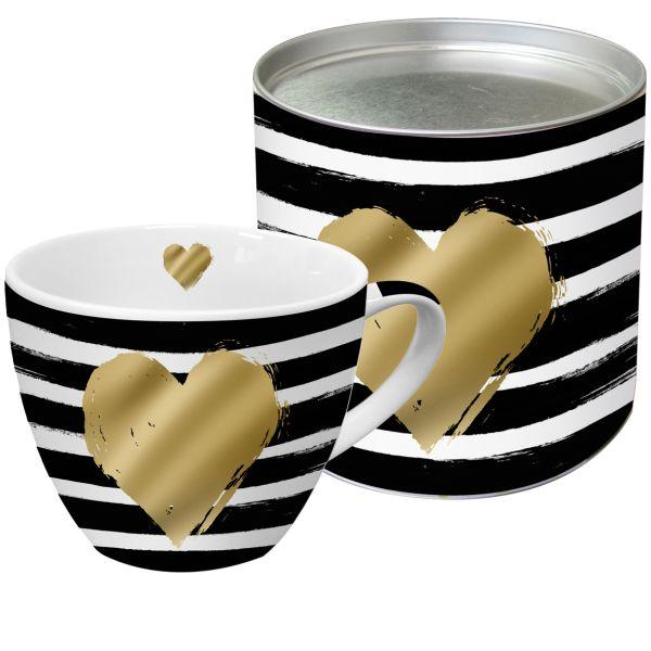 PPD Heart & Stripes Tasse/ Kaffeebecher XXL mit echten Gold-und Platinapplikationen