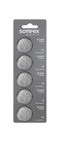 Sompex CR2450 Knopfbatterien 5er-Pack, 540 mAh