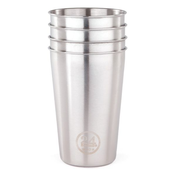 24Bottles - Edelstahlbecher / Party Cup - 4er Set - Steel