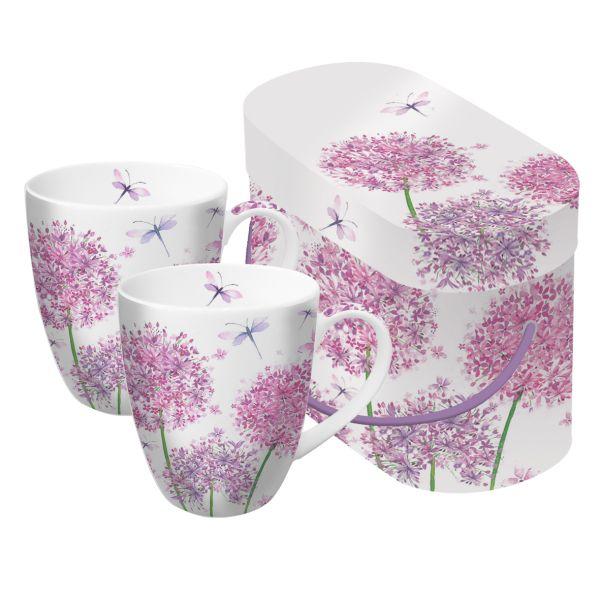 PPD Aquarell Dandelion Blumendesign Tassen/ Kaffeetassen 2er Set in passender Geschenkkartonage