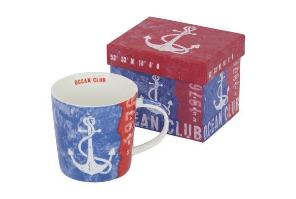 PPD Ocean Club Marine Tasse im Ankerdesign aus Magnesiumporzellan Rot/ Weiß/ Blau