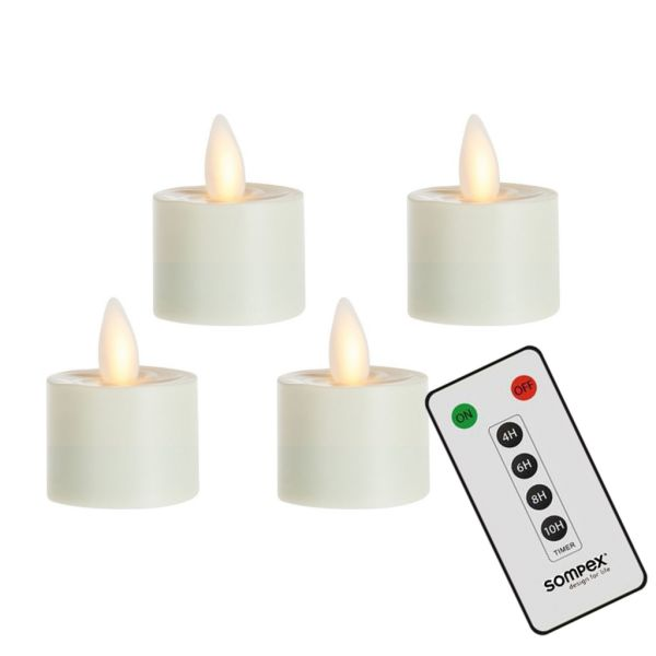4er Set Sompex Flame LED Teelichter mit Fernbedienung
