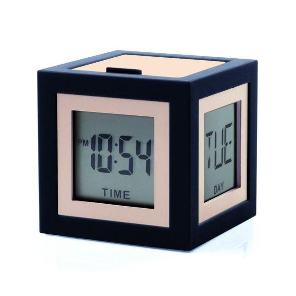 LEXON LCD Wecker schwarz gold Cubissimo