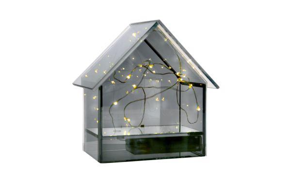 Sompex Deyo LED Tischdekoration, Glas, Haus