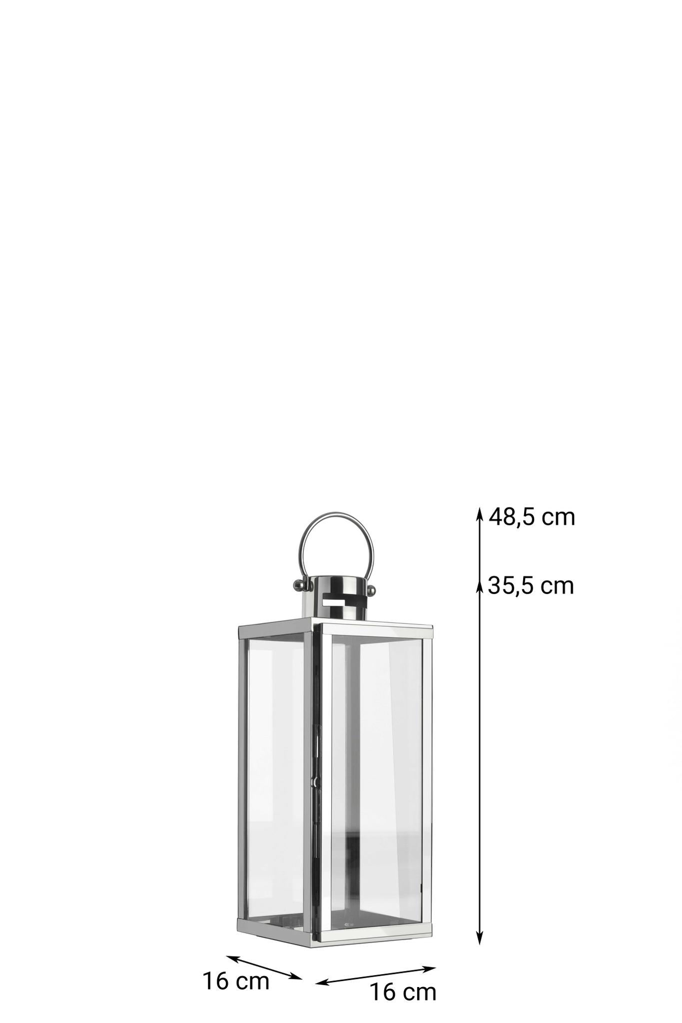Laterne LYON  aus Glas und Edelstahl mit einem Henkelgriff