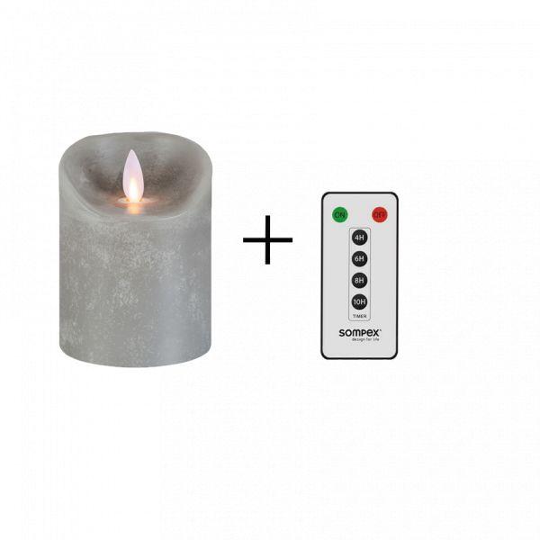 Sompex Flame Echtwachs LED Kerze, fernbedienbar, grau – in verschiedenen Größen