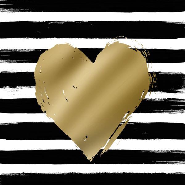 PPD - 20 bedruckte Papierservietten - Heart & Stripes schwarz/gold - 33x33cm FSC