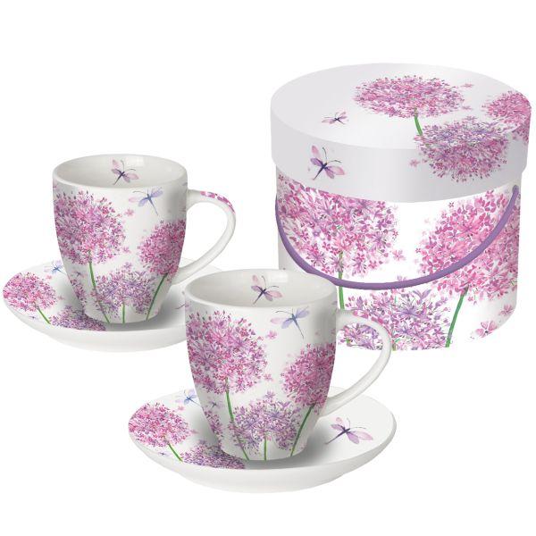 PPD Aquarell Dandelion Blumendesign Espressotassen 2er Set mit passenden Untertasse