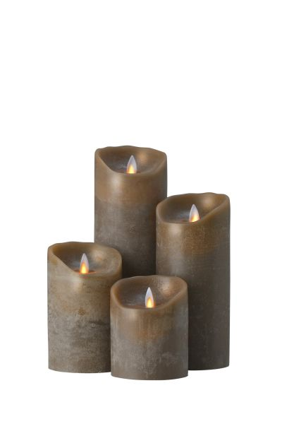 Sompex Flame Echtwachs LED Kerze, fernbedienbar, taupe – in verschiedenen Größen