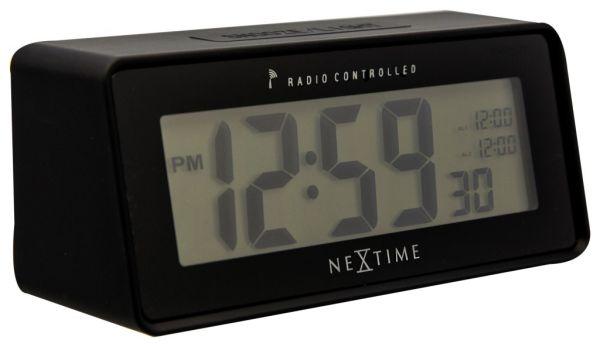 NeXtime LEAN ALARM Funkwecker, Kunststoff, schwarz