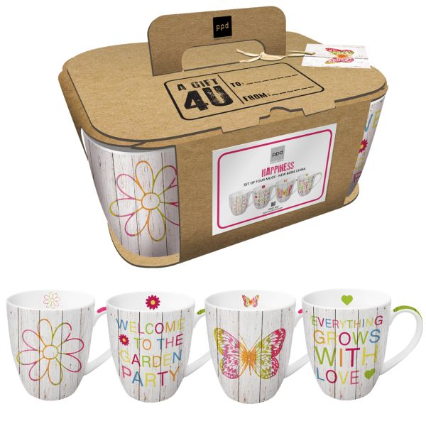 PPD Happiness Tassen/ Kaffeebecher 4erSet in dekorativer Geschenkbox aus Karton