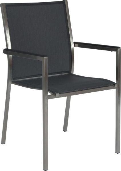 Stern Stapelsessel Polaris Edelstahl mit Bezug Textilen silbergrau und Aluminiumarmlehnen schwarz (2er-Set)