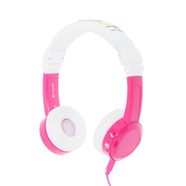 Lautstärke Reduzierende Kinderkopfhörer von Onanoff | Explore Foldable Model: Robust, Bequem & Faltbar | Mit eingebautem Mikrofon und Splitter | Ideal für iPad, Kindle, Computer, Tablets, Handys und mehr | Pink