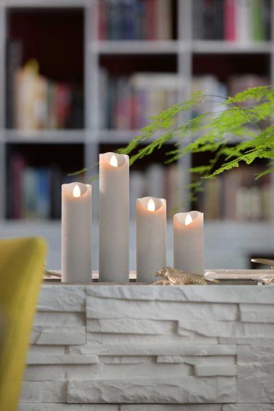 Sompex Shine LED Kerze | Multi LED Technik | Echtwachs | Ø 5 cm | Grau frost | - in verschiedenen Größen