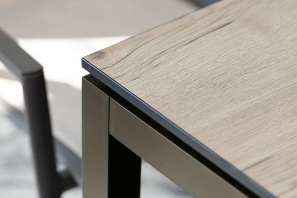 Stern Kufentisch 180x90 cm Edelstahl mit Tischplatte Silverstar 2.0 Dekor Eiche natur