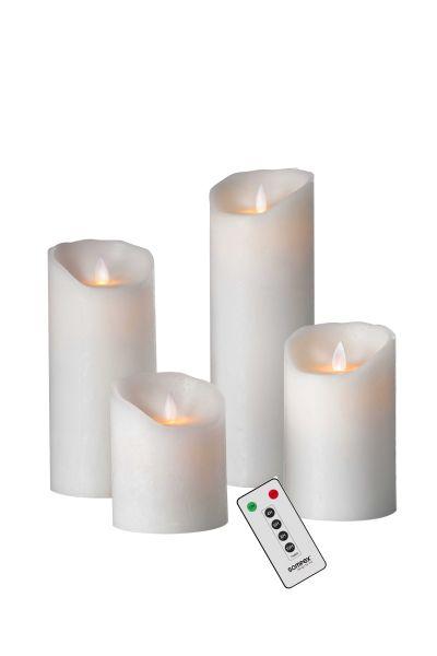 Sompex Flame Echtwachs LED Kerze, fernbedienbar, frosted white – in verschiedenen Größen