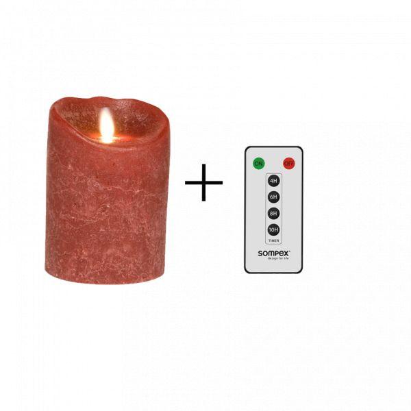 Sompex Flame Echtwachs LED Kerze, fernbedienbar, frosted bordeaux – in verschiedenen Größen