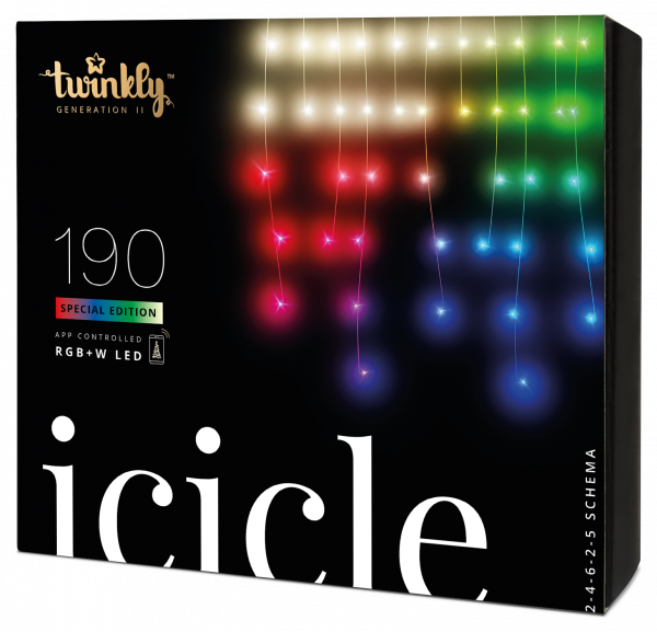 Twinkly Icicle 190 LED Lichterkette RGBW transparent