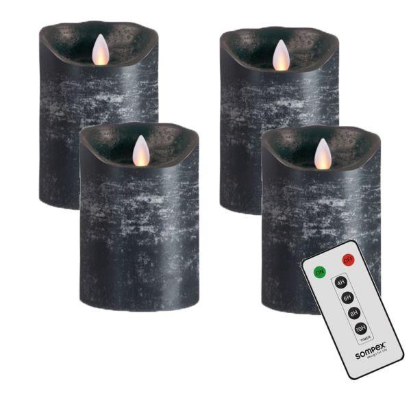 4er Adventskranzset! Sompex Flame LED Kerzen V14 Anthrazit 12,5cm mit Fernbedienung