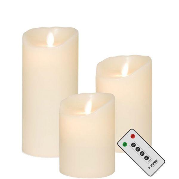 3er SET! Sompex Flame LED Kerzen Klein Elfenbein 10cm, 12,5cm, 18cm mit Fernbedienung