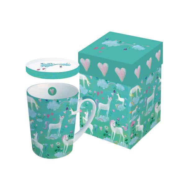 PPD Tasse/ Teebecher mit weißen Einhörnern verpackt in passender Geschenkkartonage