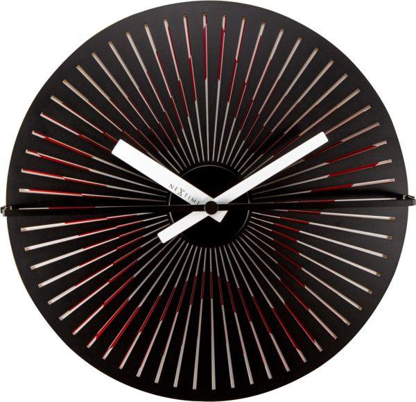 NeXtime MOTION STAR Wanduhr, Metall,rot-schwarz-weiss, sich bewegender Stern
