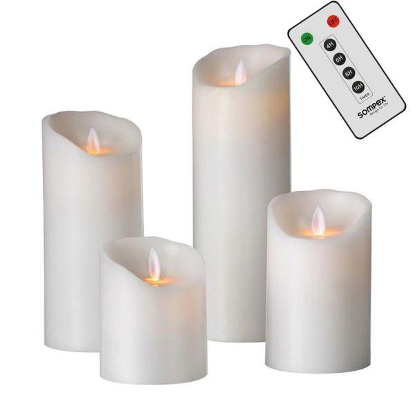 Sompex Flame Echtwachs LED Kerze, fernbedienbar, weiß – in verschiedenen Größen