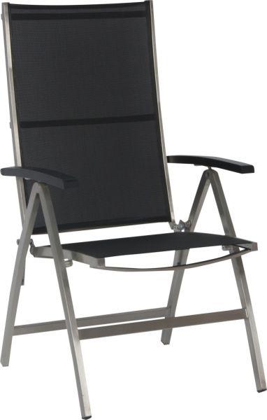 Stern Klappsessel Derby Edelstahl mit Bezug Textilen schwarz und Aluminiumarmlehnen schwarz